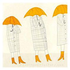 Giclee print Trio Regenschirm Illustration von RedCheeksFactory