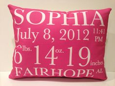 Birth Announcement Pillow baby gift birthday by ThreelilStitches