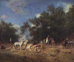 Algérie - Peintre françaisEugène Fromentin(1820 - 1876) ,Huile sur toile , Titre : repos de cavaliers Arabes dans une foret