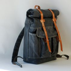 The Camper Satchel in Gray Waxed Canvas by sketchbook on Etsy, $200.00