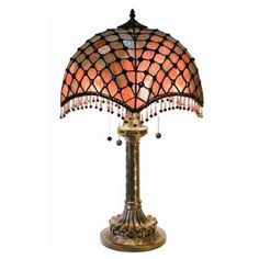 Warehouse of Tiffany 25 in. Bronze Beaded 2-Light Indoor Table Lamp with Pull Chain-2194BB565 at The Home Depot