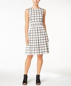 TOMMY HILFIGER Tommy Hilfiger Windowpane Plaid Fit & Flare Dress. #tommyhilfiger #cloth # dresses