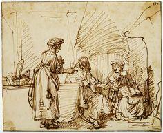 Mijn favoriete Rembrandt in Teylers Museum: Christus bij Martha en Maria Rembrandt Etchings, Rembrandt Drawings, Baroque Painting, Great Works Of Art, Artist Sketchbook, Dutch Artists, Gravure, Art Plastique, Museum