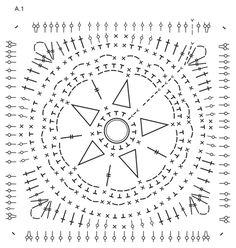 """Starstruck - Manta DROPS em croché, formada por quadrados coloridos com estrelas do mar, em """"Safran"""". - Free pattern by DROPS Design"""