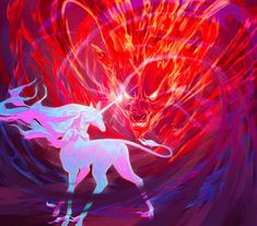 """"""" Brutal Ardor, a ceaseless scream, the end of everything you know 🔴"""" Mythical Creatures Art, Mythological Creatures, Fantasy Creatures, Cyberpunk, Fanart, The Last Unicorn, Unicorn Art, Red Art, Fantasy Art"""