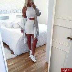 white crop top + white skirt + grey cardigan sweater