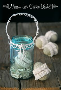 Mason Jar Easter Basket: Turn a vintage mason jar into a basket trimmed with lace.