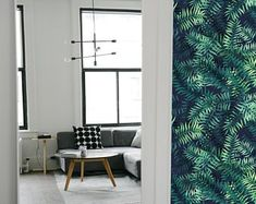 Tropical design removable wallpaper / tropical self-adhesive wallpaper with leaves / green colored tone tropical wallpaper peel and stick Nursery Wallpaper, Diy Wallpaper, Peel And Stick Wallpaper, Designer Wallpaper, Pattern Wallpaper, Best Removable Wallpaper, Temporary Wallpaper, Tropical Wallpaper, Tropical Design