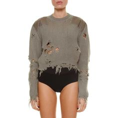 YEEZY 'Destroyed' cropped sweater with patch ($415) ❤ liked on Polyvore featuring tops, sweaters, brown sweater, patch sweater, distressed top, cut-out crop tops and brown crop top