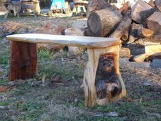 Chainsaw Carving Bear Cub Bench Wood Hand Carved Rustic Cabin Garden Decor