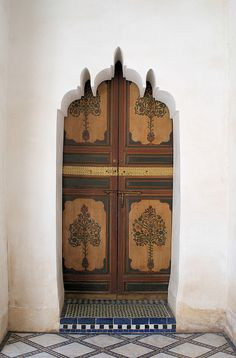 Wooden door and stone carving Morocco