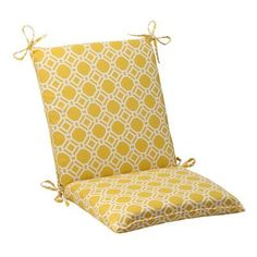 Pillow Perfect Rossmere Outdoor Chair Cushion Color: Yellow / White