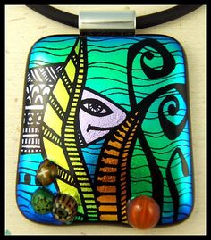 Another fused dichroic glass pendant, hand cut and hand-etched by Lyn Owen.