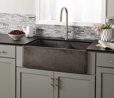 Farmhouse Double Bowl - New in 2016 - Kitchen | Native Trails - Farmhouse Double Bowl is handcrafted of NativeStone, a sustainable combination of natural jute fiber and cement, producing an extraordinarily strong material while creating a dramatically lighter product - approximately 40 percent less than standard concrete sinks. Available in three finishes: Ash, Slate, and Pearl.