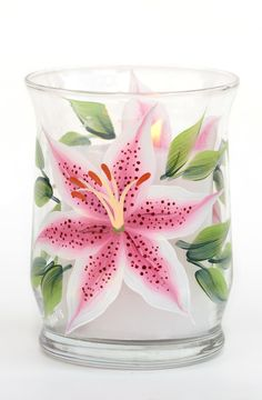 """Beautiful stargazer lilies hand-painted encircling a 4.5"""" tall mini pillar candle holder which holds a 2.5"""" mini pillar (included). Sealed and heat-cured for added durability."""