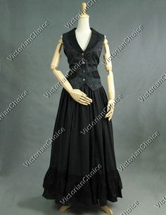 Victorian+Edwardian+Black+Vest+2-PC+Suit+Downton+Abbey+Theater+Costume+Steampunk