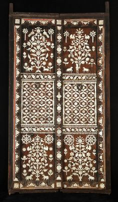 Pair of Indian doors profusely inlaid with mother of pearl C. 1700 TO C. 1800 INDIA
