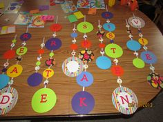 I will either make these into a hanging mobile or just hang them from the ceiling in my new classroom.