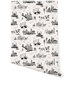 Cities Toile (White) – Hygge & West - for a bathroom at some point (not in the current house)
