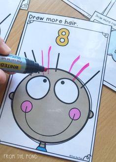 Actividad simple y divertida de iniciación a la suma, dibujando tantos pelos como el número indica.