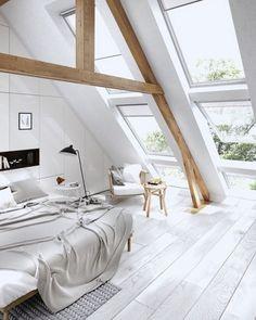 MaisonsBlanches Dachfenster, Dachgeschoss Schlafzimmer, Dekoration Wohnung,  Dachgeschosse, Dachstuhl, Einfamilienhaus, Penthouse