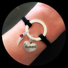 Husband Birthstone Wing Halo Bracelet  Sympathy by HEAVENSBOOK