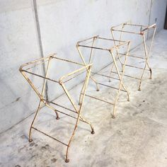 Small French folding trestles, ideal for use in the workshop, garden, or in an adventurous interior. French Antiques, Metal, Interior, Indoor, Metals, Interiors