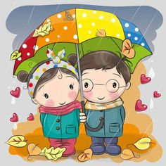 Boy and girl with umbrella under the rain. Cute Boy and girl with umbrella under the rain vector illustration Cartoon Cartoon, Couple Cartoon, Cartoon Drawings, Easy Drawings, Rain Cartoon, Funny Kid Drawings, Painting For Kids, Drawing For Kids, Art For Kids