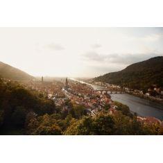 Der beste Blick von der Scheffelterrasse auf die Stadt Heidelberg, Alte Brücke, Heiliggeistkirche und Jesuitenkirche, Überblick über Heidelberg, Fototapete von Merian, Fotograf: A. F. Selbach