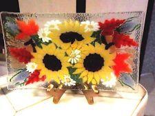"PEGGY KARR Fused Art Glass Sunflower Rectangle Plate 9.5"""