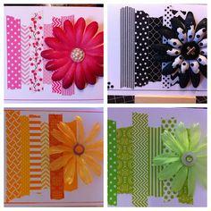 Washi tape cards, flowers & buttons! Ez-Pz fun!