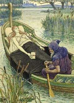 """Walter Crane, """"The Death Journey of the Lily Maid of Astolat"""", Russell-Cotes Gallery and Museum, Bournemouth, UK"""