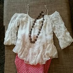 """Zara Boho style top NWOT, Brand New No Tags. Boho style top, white color, spaghetti straps attached not adjustable.  Armpit to armpit 22"""", length from collar to hem approx 18"""". Fabric 100% viscose. It has a thin lining on the front area. Tagged Medium but runs big, it could work  for Size Large, Size 4 or Size 6, depending how loose you want the fit *** OFFERS WELCOME  *** Zara Tops"""