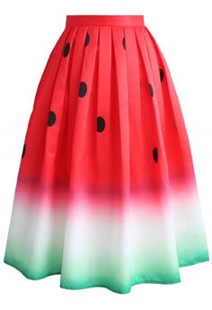 My daughter is crazy for watermelon print! Watermelon Printed Midi Skirt - Skirt - Bottoms - Retro, Indie and Unique Fashion Unique Fashion, Red Polka Dot Skirt, Polka Dots, Chicwish Skirt, Calf Length Skirts, Chiffon Maxi, Red Skirts, Mode Inspiration, Printed Skirts