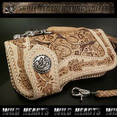 Biker wallet/leather/Skull carving/Leather purse/WILD HEARTS/ワイルドハーツ