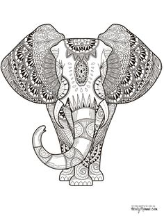 elephant-adult-coloring page