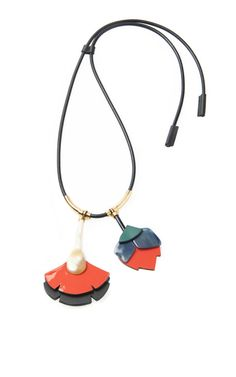 Leather Double Flower Pendant Necklace by Marni