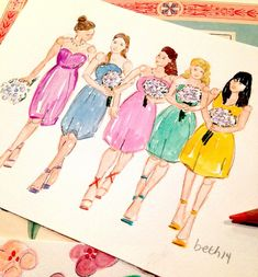 Because every illustration tells a story.... Their names are Melanie, Taylor, Leann, Gracie and Priscilla.... They are besties and the beautiful bridesmaids who almost stole the show last night at ...
