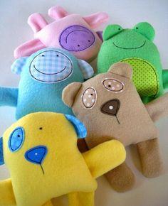 Toy Sewing Pattern - PDF ePATTERN for Baby Animal Softies - Knutselen met stofrestjes, Speelgoed naaien en Baby knutselen Sewing Toys, Baby Sewing, Sewing Crafts, Sewing Projects, Sewing Ideas, Sewing Tutorials, Fleece Projects, Clay Tutorials, Free Sewing
