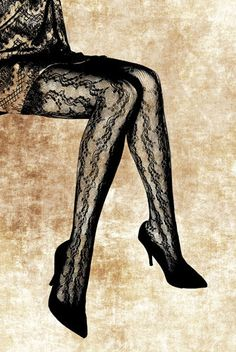 Womans legs wearing floral fishnet stockings and black high heel shoes    This is a digital file that will be sent to your email address as a