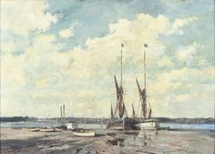 The `Millie` and the `Salcote Belle` at Pin Mill. Edward Seago