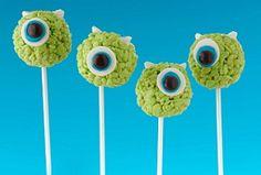 Mike Rice Krispies Treats® Pops {kellogs family rewards} #monstersinc #ricekrispie #party