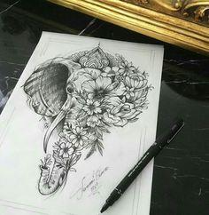 Elephant and flower, tattoo