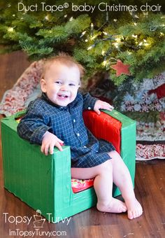 Duct Tape Christmas Baby Chair. OMGosh, they made this out of a box, some foam and duct tape. Full tutorial. They have some really cute tape patterns out now too, so cute!