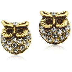 Alcozer & J Crystal Brass Owl Earrings ($154) ❤ liked on Polyvore