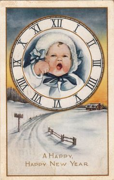 Vintage New Year Postcard Happy New Year Baby, Vintage Happy New Year, Happy New Years Eve, Happy New Year Cards, Happy New Year 2019, New Year Wishes, New Year Greetings, Vintage Greeting Cards, Vintage Christmas Cards