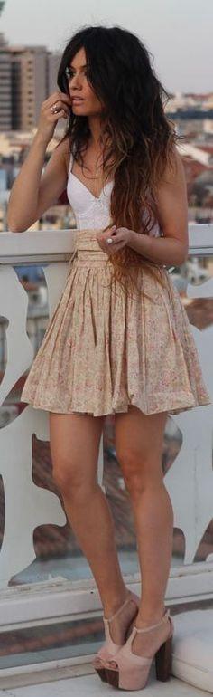 summer outfit. beach hair. skirt. heels. neutrals..