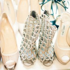 Awesome silver wedding shoes