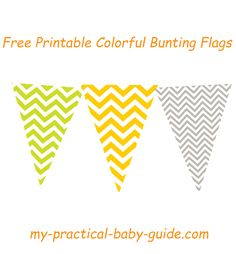 Free Printable Colorful Chevron Bunting Flags. Lime Green, Orange and Gray are the chosen colors for our woodland themed Baby Shower.  Click for more Free Printable Baby Shower game,decoration and ideas.