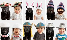 Perfect paw-traits! Baby and dog in matching outfits for sweet snaps.